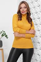 Базовый женский теплый свитер гольф горчичный