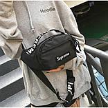 Бананка SUPREME поясная сумка суприм сумочка мужская женская чоловіча жіноча 8005/13 черная, фото 6