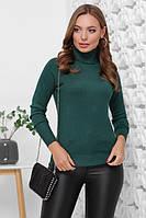 Женский свитер гольф изумрудного цвета Модные женские стильные свитера с горлом