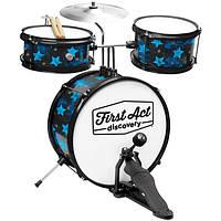 Барабанная установка и сидение First Act Discovery Black W/Blue Stars FD3018