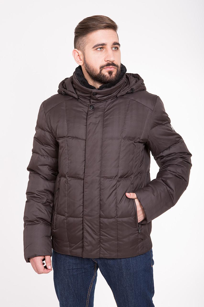 Зимний мужской пуховик Clasna с мехом CW13MD40 #711_коричневый