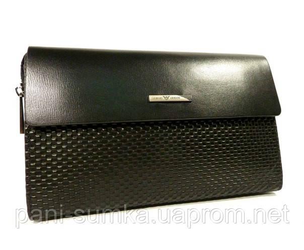 Клатч мужской кожаный малый Armani  3511-1 черный, 21*14 см