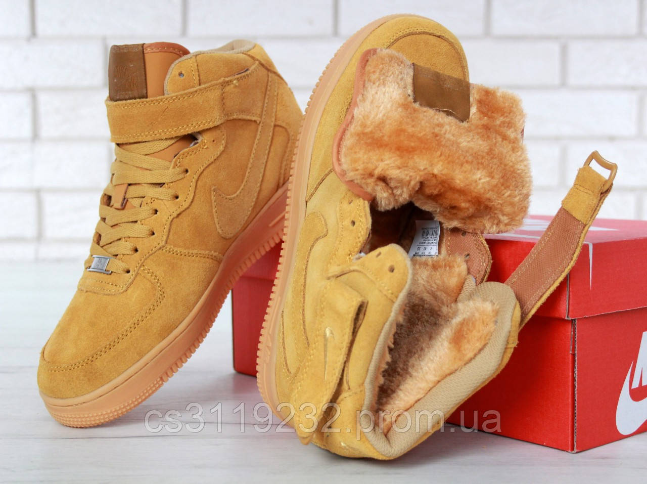 Мужские кроссовки зимние Nike Air Force High (мех) (рыжие)