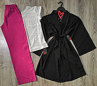 Футболка+штаны+халат-комплект для сна и дома хлопок.