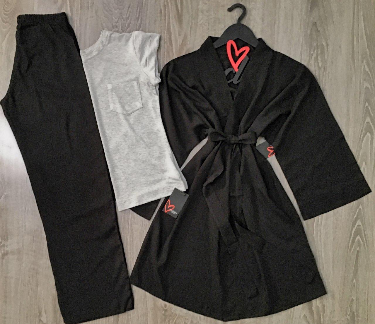 Хлопковый комплект для дома, халат+ футболка+штаны
