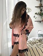 Женский шелковый халат S-M  пудра