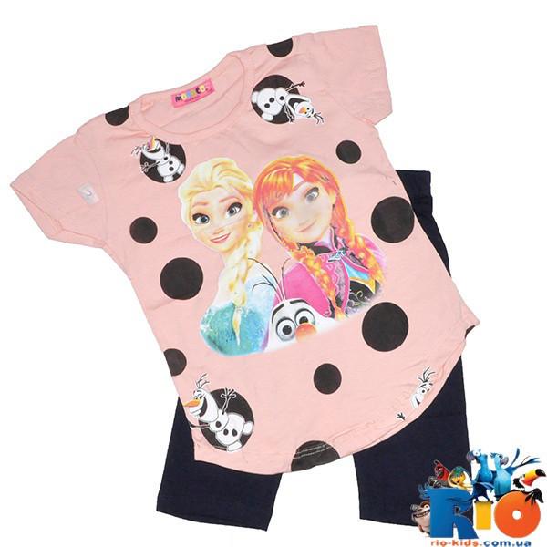 """Летний костюм """"Ледяное сердце"""" (футболка, лосины), для девочки 5-8 лет (4 ед. в уп. )"""