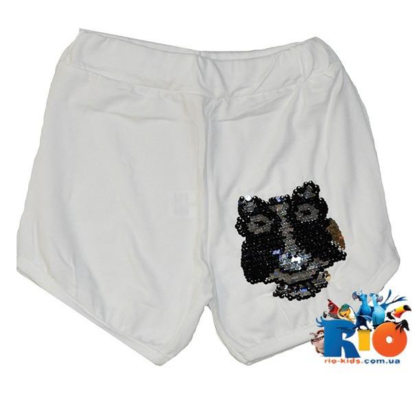 Летние детские шорты (пайетки перевертыши) , трикотажные, для девочек 5-8 лет, полномерят ( 4 ед. в уп.)