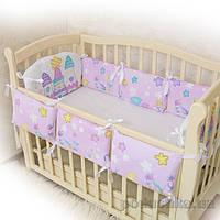 Защитное ограждение для детской кроватки Замок розовый поплин Бетис 27082167