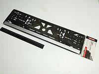 Рамка номерного знака (1 шт.) Carlife (NH03) серая полоса