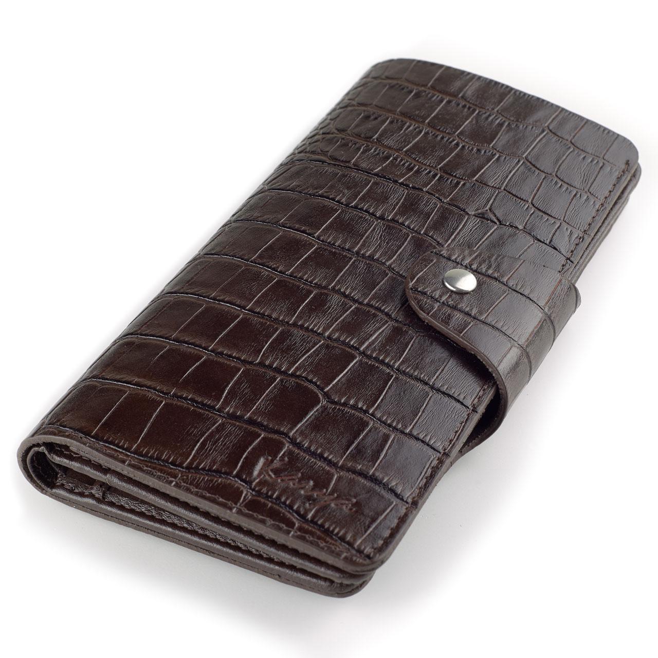Чоловіче портмоне купюрник Karya 1122-57 коричневе шкіряне