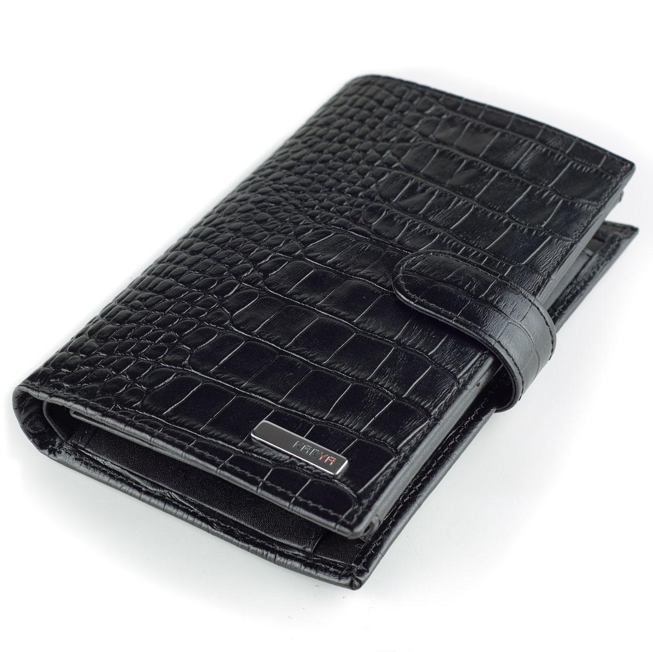 Мужское портмоне Karya 0498-53 с отделением для паспорта кожаное черное