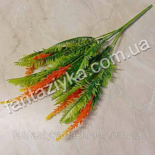 Искусственный куст вереска с оранжевым цветом