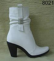 Женские кожаные осенние полусапожки на каблуке, фото 1