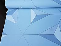 Обои флизелиновые Decoprint Elisir EL21072 геометрические фигуры треугольники 3д серые белые на голубом фоне