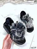 Угги женские автоледи  ушки черные натуральный замш, фото 3