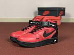 Мужские зимние кроссовки Nike Air Force (черно-красные), фото 2
