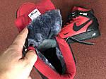 Мужские зимние кроссовки Nike Air Force (черно-красные), фото 5