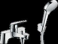 Змішувач Hansgrohe Novus врізний на край ванни 2 отвори + комплект душової лійки Croma Select