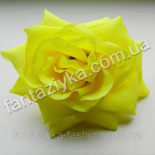 Роза искусственная свадебная 10см, желтая