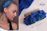 """""""Синие розы"""" гребень для волос с цветами ручной работы из полимерной глины, фото 1"""