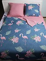 Постельное белье, полуторный комплект,  145*215 см, постель полуторка, Фламинго