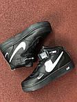 Чоловічі зимові кросівки Nike Air Force (чорно-білі), фото 5