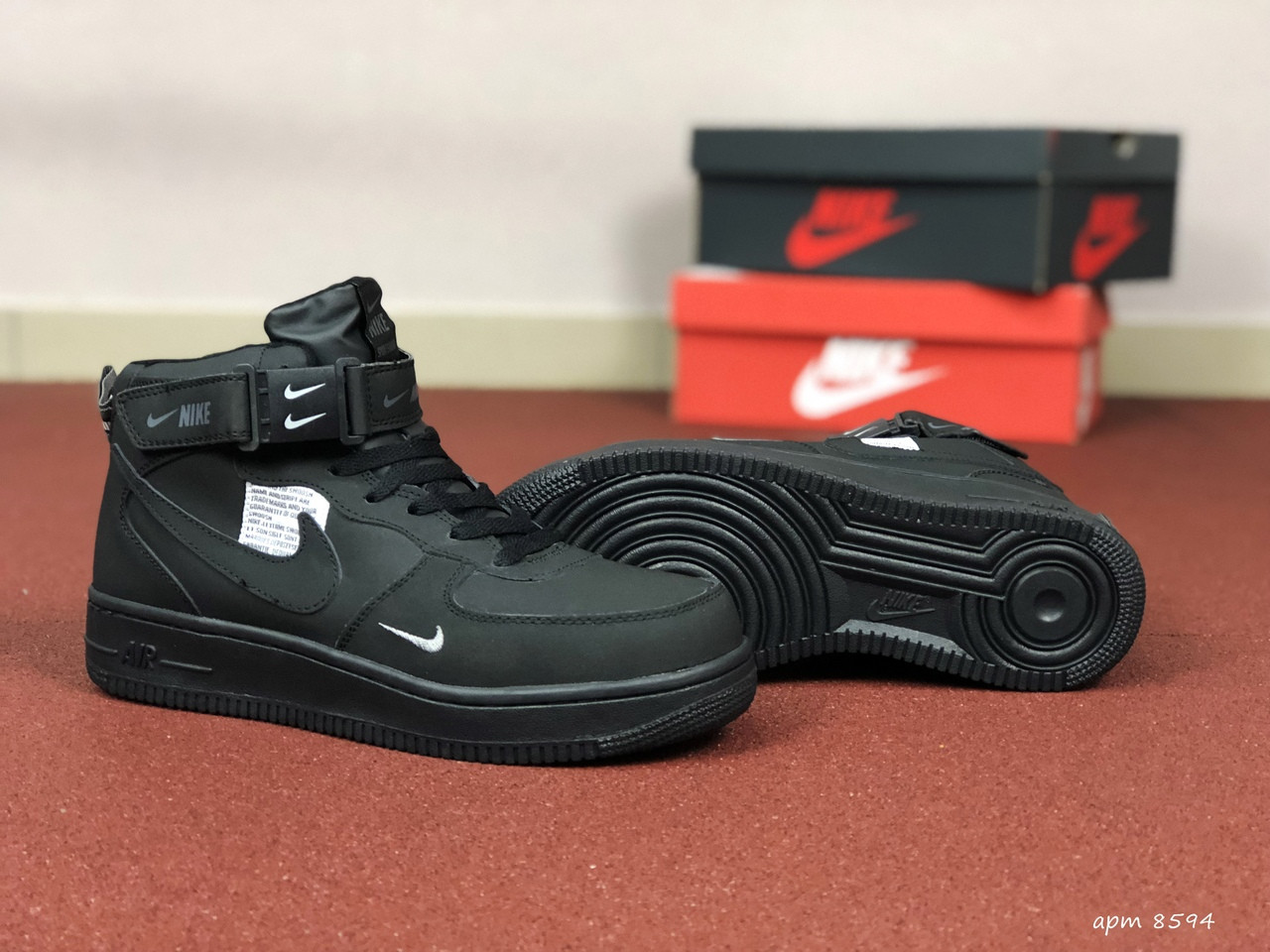 Жіночі зимові кросівки Nike Air Force (чорні)