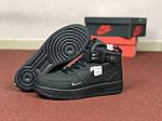 Жіночі зимові кросівки Nike Air Force (чорні), фото 3