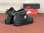 Жіночі зимові кросівки Nike Air Force (чорні), фото 5