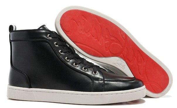 Черные кожаные кроссовки Christian Louboutin