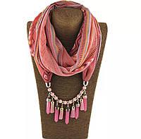 Шарф - бусы (шарф с бусами), Розово-коралловый в узор
