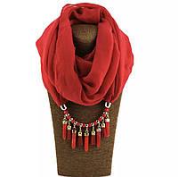 Шарф - бусы (шарф с бусами), Красный