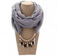 Шарф - бусы (шарф с бусами), Серый