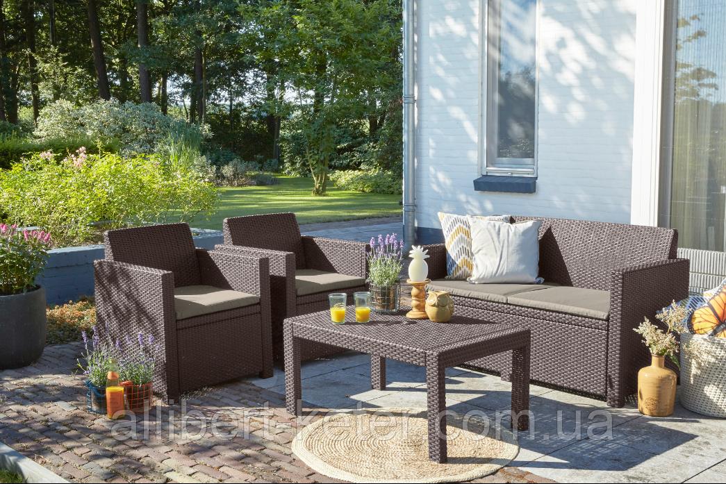 Набор садовой мебели Merano Lounge Set Brown ( коричневый ) из искусственного ротанга ( Allibert by Keter )