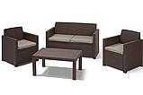 Набор садовой мебели Merano Lounge Set Brown ( коричневый ) из искусственного ротанга ( Allibert by Keter ), фото 10