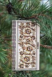 Шкатулка деревянная, конверт для денег из дерева Цветы