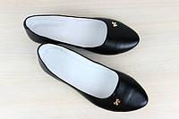 Стильные кожаные  балетки-лодочьки черного цвета