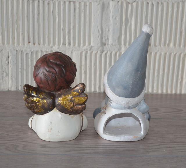 Снеговик-подсвечник с ангелочком, керамика