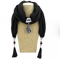 Шарф - бусы (шарф с бусами), Черный с кулоном