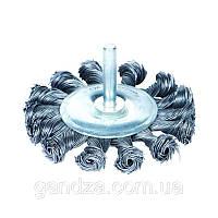 Щётка проволочная дискообразная  (для УШМ, O22.2мм)ХВОСТОВИК Ø6ММ    (СТАЛЬНАЯ ВИТАЯ) O75мм (9023071)