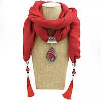 Шарф - бусы (шарф с бусами), Красный с кулоном