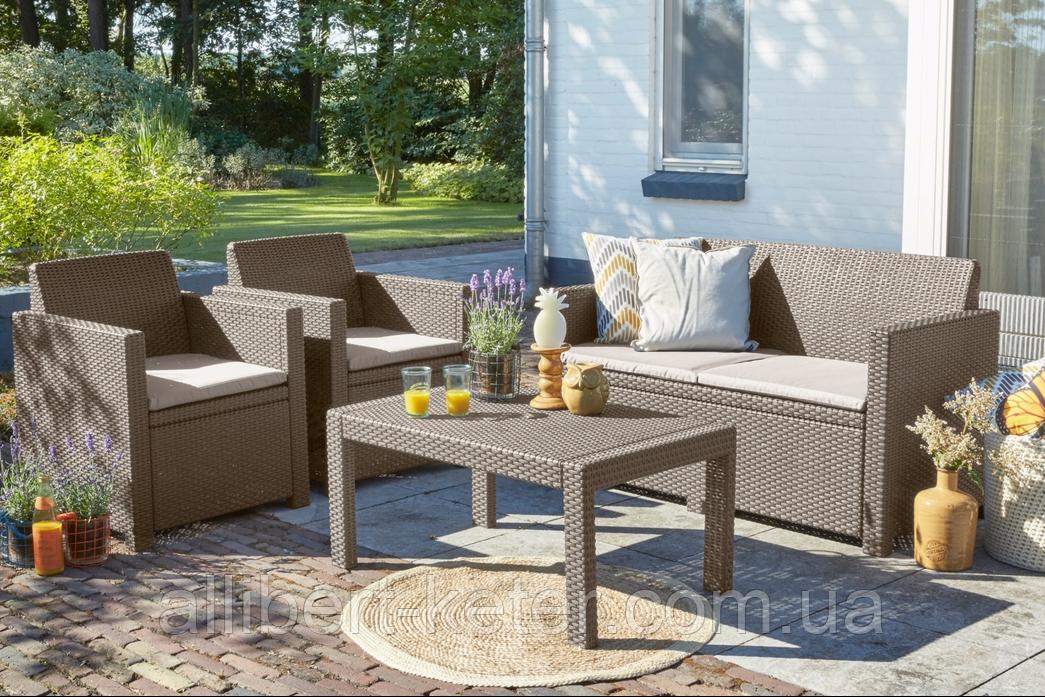 Набор садовой мебели Merano Lounge Set Cappuccino ( капучино ) из искусственного ротанга
