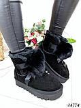 Угги  женские черные с бубоном натуральная замша, фото 3