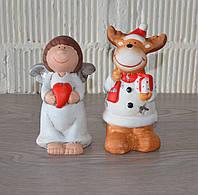 """Новогодние фигурки """"Олень-подсвечник с ангелочком"""", керамика, фото 1"""