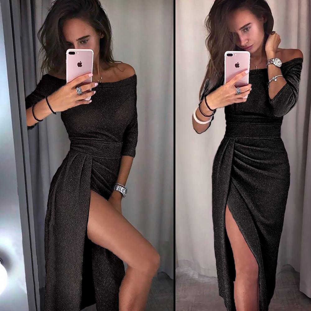 Черное вечернее платье (Код MF-194)