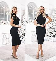 Женское платье миди с погонами из бахромы ТК/-3042 - Черный, фото 1