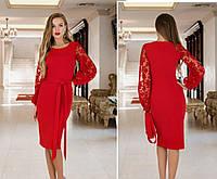 Нарядное красное платье  с полупрозрачными рукавами