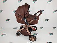 Универсальная коляска 2 в 1 Hot Mom кофейная Полностью еко кожа Новый цвет Новинка!