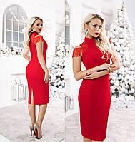 Женское платье миди с погонами из бахромы ТК/-3042 - Красный, фото 1